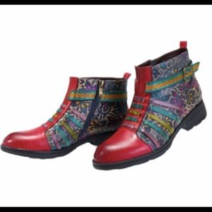 Socofy New Printing Stripe Red Leather Boots